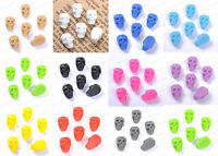 Wholesale lots 50pcs Fashion Resin Flatback Carved Skull Beads 10X6MM