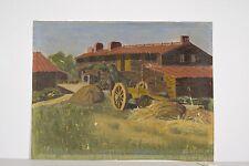 Petite peinture à l'huile Delabrousse 1928 Ferme au toit de tuiles, à restaurer