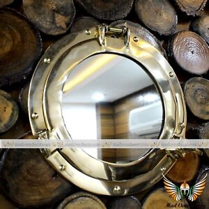 Vintage Handmade Brass Round Ship Boat Window Home Wall Decor Porthole Mirror