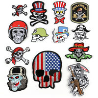 DIY Skull Badge Patch Embroidered Sew Iron On Patches Clothing Fabric Applique
