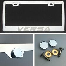 Versa Laser Engraved Polish Stainless Steel License Plate Frame Chrome Screw Cap