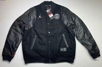 Nike PSG Paris Saint Germain Bomber Jacket Destroyer Black Leather BQ8363-010  L