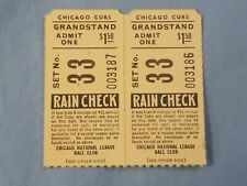 Lot of 2 Wrigley Field Chicago Cubs Grandstand Ticket Stub early to mid 1940s