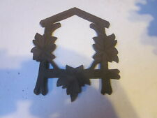 New listing Vintage Black Forest Cuckoo Clock Wood Front Case Frame Small W/ 3 Leaves