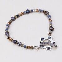 "7"", Vtg Handmade Bead Bracelet, Gf Beads W/ Black Pearl W/ Flower Toggle Closure"