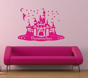 DISNEY CASTLE WALL ART STICKER -  PERSONALISE, with Tinkerbell & Stars
