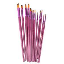 PRO 12 Paint Brush Set Assorted Size Acrylic Oil Brushes Flat Tipped Purple