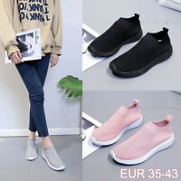 Women's Trainers Casual Round Toe Slip-On Sneakers Tennis Breathable Sock Shoes