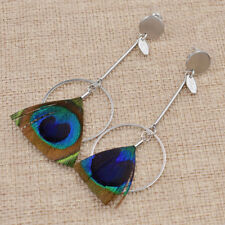 Peacock Feather Pendant Long Earring Ear Stud Fashoin Jewelry Charms Handmade