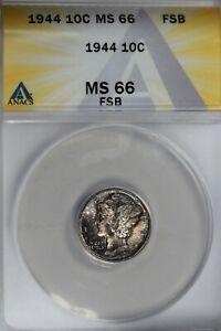 1944 .10  ANACS  MS 66 FSB  Mercury, Winged, Liberty Head Dime, Liberty 10 Cents
