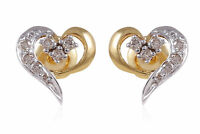 0.50 Carats Round Brilliant Cut Pave Diamonds Stud Earrings In Hallmark 14K Gold