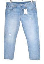 Womens Levis 501 Tapered Boyfriend Light Blue Ripped Jeans Size 14 W32 L28