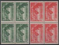 """FRANCE YVERT 354/55 SCOTT B66-67 """" WINGED SAMOTHRACE BLOCK OF 4 """" MNH VVF K828"""