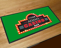 Personalised Vegas Home Casino Poker Beer Bar runner Mat Pub & Clubs Games night