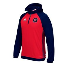 Chicago Fire MLS Adidas Men's Red Team ClimaWarm 1/4 Zip Travel Hoodie