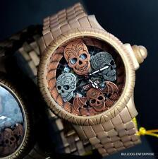 Invicta Bone Collector Distressed Chronograph Artist Gold Tone 48mm Watch New
