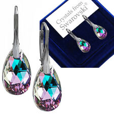 925 Sterling Silver Leverback Earrings PEAR Clear 16 Mm Crystals From Swarovski®