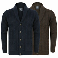 Men's Knitted Cardigan Tokyo Laundry Shawl Neck Cable Knit Chunky Button Up
