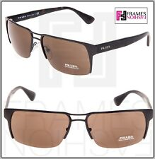 PRADA PR52RS Matte Brown Tortoise Metal Mirror Square Sunglasses 52R Unisex