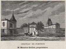 GRAVES. PORTETS. Chateau de Portets. Grillet. Bordeaux. SMALL 1908 old print