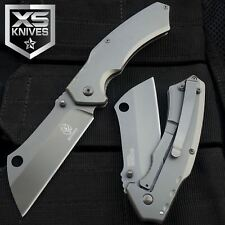 "8"" Tactical Grey Cleaver Razor Spring Assisted Open Pocket Folding Knife"