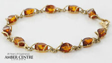 ITALIAN MADE BALTIC AMBER BRACELET IN 9CT GOLD -GBR085 RRP£395!!!