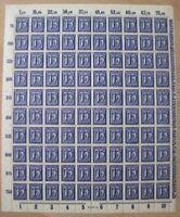 DR Mi Nr. 185 ** kompletter Bogen, Ziffer Infla 1921, postfrisch, MNH