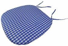 """4 X GINGHAM CHECK BLUE WHITE 16"""" X 16"""" X 1"""" SEAT PAD TO MATCH CURTAIN DRAPES"""