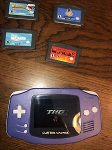 Nintendo GameBoy Advance AGB-001 - with 5 games Purple TESTED