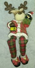 Reindeer Figurine With Hanging Legs Lantern Sack With Penguin Christmas ornament