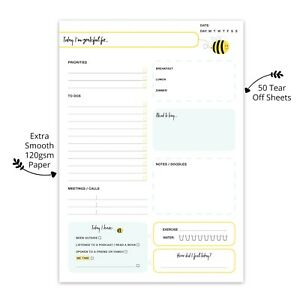 A5 Daily Planner Work Life To Do List Notepad Memo Organiser Desk Pad Cute Bee