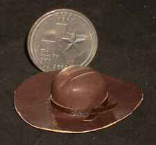 Cowboy Cowgirl Brown Leather Hat New 1:12 Dollhouse Miniature Mexican L504 #4870