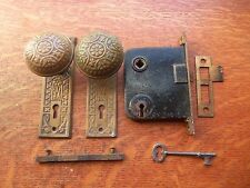 Antique Victorian Brass Vernacular Doorknobs Doorplates & Lock Set Sargent c1885