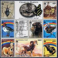 MONGOLIA 2000 CH. DARWIN MNH ANIMALS BIRDS INSECTS APES PAINTINGS