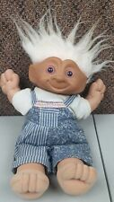 "vintage 1991 ace treasure trolls 12"" white pinkish hair blue overalls red gem"