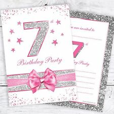 7th Birthday Invites - Pink with photo effect glitter - A6 Size (Pack 10)