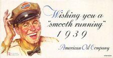 "Norman Rockwell 1939 American Oil Company Amoco Gasoline 3 x 5.75"" Blotter"