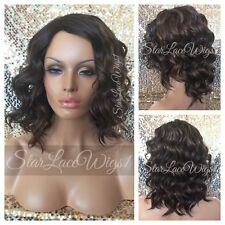 Short Brown Wavy Mixed Color Highlight Bob Full Wig Side Part Heat Safe Ok