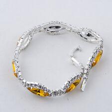 charm bracelet crystal womens tennis amethyst white gold filled rhinestone lot