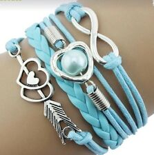 Sky Blue Braided Silver Toned Charm Bracelet Infinity Heart Faux Pearl Arrow