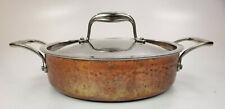 New listing Lagostina Martellata Tri Ply Hammered Copper Casserole Pot 3Qt, J3 L67 6348