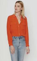 $230 Equipment Slim Signature Silk Shirt Orange