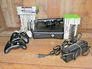 Microsoft Xbox 360 250GB Core Black Console 24 Games, 3 Controllers w/ Kinect