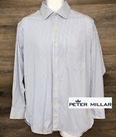Peter Millar Men's Soft Nylon Light Blue Striped Long Sleeve Dress Shirt 16 Reg