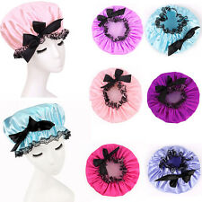 Women Waterproof Elastic Plastic Shower Cap Bathing Salon Hair Bathroom Cute Hat