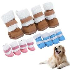 4Pcs Pet Dog Shoes Puppy Cat Shoe Winter Warm Cashmere Cotton Boots Snow Booties