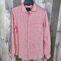Rodd & Gunn Men's Size Small Sports Fit Button Down Shirt 100% Linen Striped