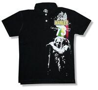 Bob Marley Patch Mens Black Polo Shirt New Official Adult Reggae