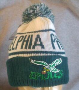 Philadelphia Eagles Throwback Bird Winter Knit Fur Lined Warm Pom Eagles Hat