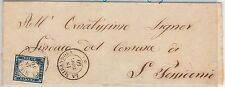 ANTICHI STATI - SARDEGNA : Sassone 15C su BUSTA da  LA MIRANDOLA (Modena) 1860